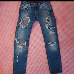 """Zara Size 2 (28"""" Waist) Distressed Boyfriend Jeans"""